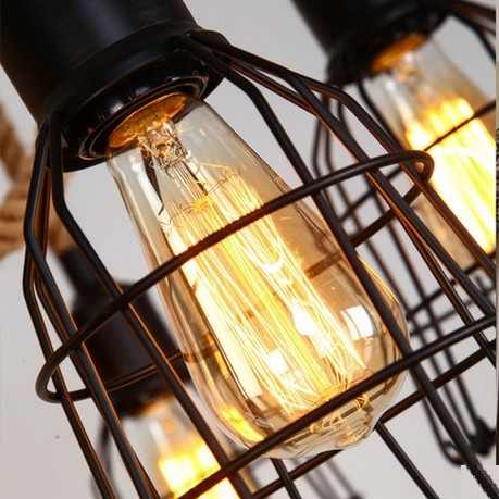 Лофт стиль пеньковая веревка железная точечная эдисоновская винтажная Подвесная лампа для столовой Подвесная лампа для внутреннего освещения