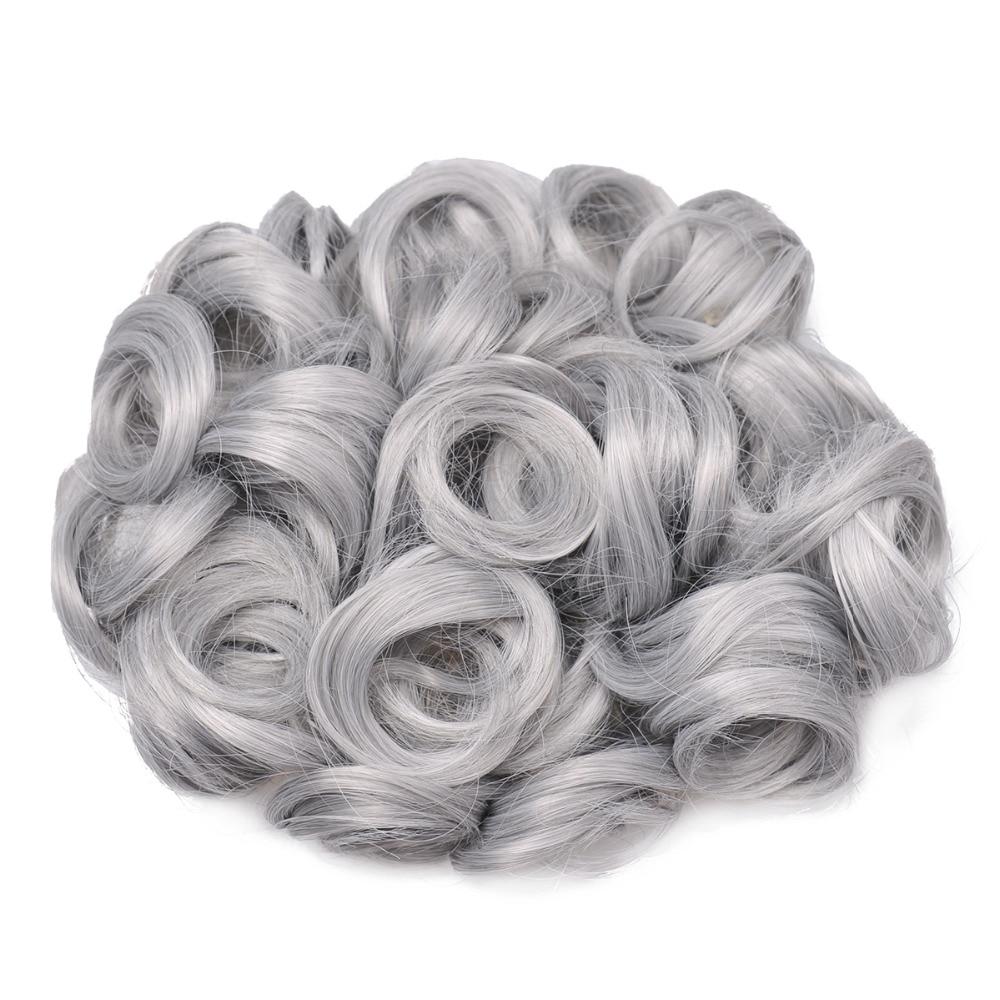 OUBECA Kvinnors Grå Curly Chignon Elastic Gummi Band Combs Klipp I - Syntetiskt hår - Foto 3
