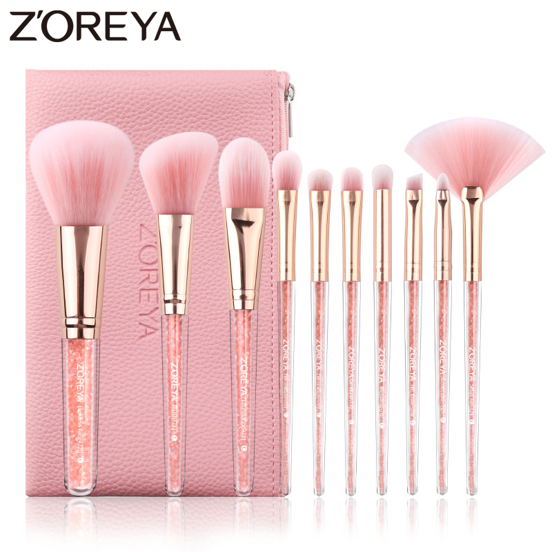 Zoreya Brand Concealer Blending Professional Makeup Brushes 10pcs Soft Synthetic Hair Blush Foundation Eye Shadow Fan Brush