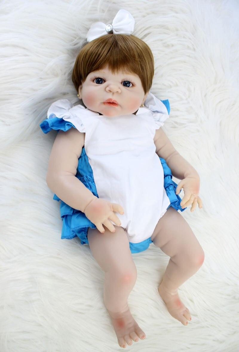 NPKCOLLECTION 22 Full Silicone Reborn Baby Girl 55cm Lifelike Newborn Dolls Princess Baby Alive Toy Waterproof Body Bebe Boneca