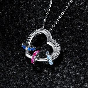 Image 3 - القلب مكون الوردي الأزرق الياقوت قلادة قلادة 925 فضة الأحجار الكريمة المختنق بيان قلادة المرأة بدون سلسلة