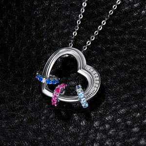 Image 3 - Heart Created Pink Blue Sapphire Pendant Necklace 925 Sterling Silver Gemstones Choker Statement Necklace Women Without Chain