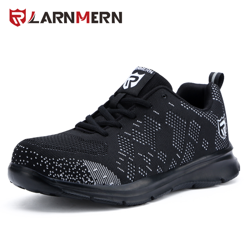 LARNMERN Anti-smashing Steel Toe Caps Safety Shoes Anti-piercing Combat Boots Lightweight Work Men Footwear Reflective Stripe