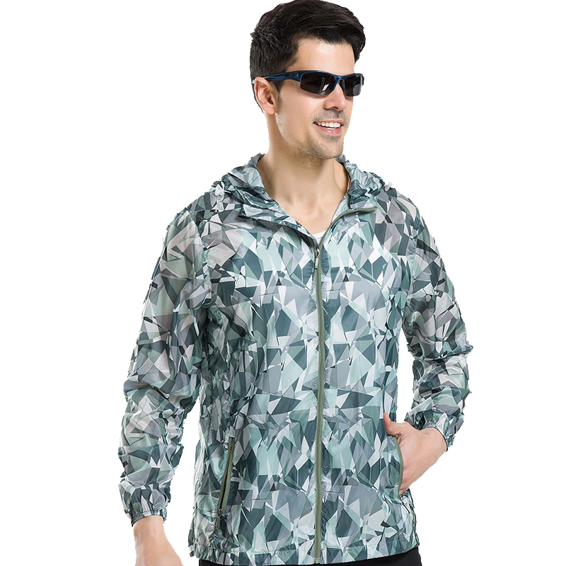 New Printing Mens Outdoor Sports Hiking Camping Quick Dry Anti-UV Sunscreen Jacket Men Hoodie Ultra light Beach Trekking Coat