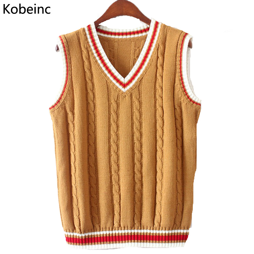 Knitting Pattern Womens Sweater Vest : 6 Color V Neck Vest Sweater 2017 Autumn Sleeveless Women Sweaters Fahsion Twi...
