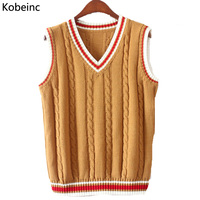 6 Color V Neck Vest Sweater 2016 Autumn Sleeveless Women Sweaters Fahsion Twist Pattern Knitted Pullovers