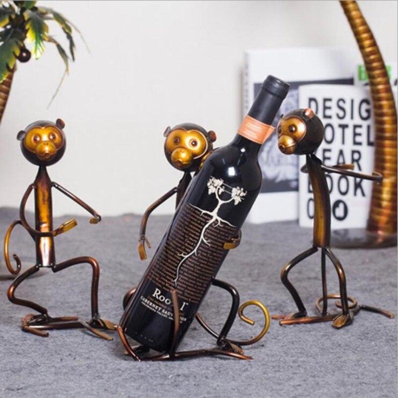 Support de vin mignon singe support de bouteille de vin en métal étagère à vin Sculpture Sculpture pratique décoration de la maison intérieur stand de vin artisanat