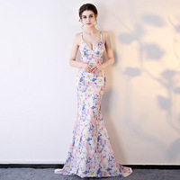 Women Dresses 2018 Sexy Bodycon Evening Party Elegant Club Wear Floral Vintage Long Dress Ladies Wedding Floral Cosplay Costumes