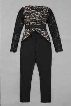 Top Quality Black Long Lace Sleeve Sexy Rayon Bandage Jumpsuit V-neck Party Bodycon Jumpsuit