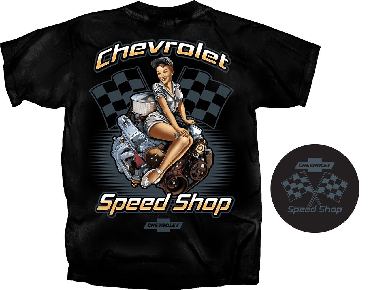 2018 Summer Cool Tee Shirt Chevrolet Speed Shop Pin-Up Girl T-Shirt~Black~Race Flags Small Block Engine Funny T-shirt