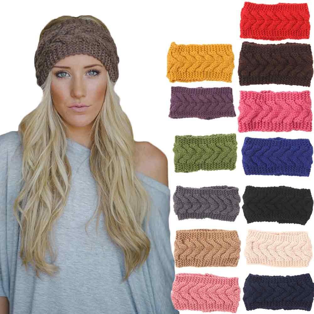Lady Solid turban Knitting Headbands Winter Women Bohemia Wearing Cross Headbands Hairbands   Headwear   Hair Accessories W010