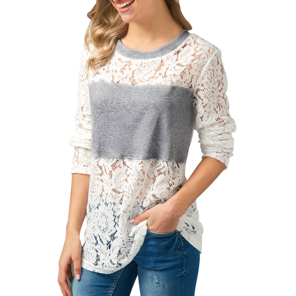 High Recommend Women Ladies Casual Lace Patchwork Shirt Long Sleeve Tops womens clothing camisasdrop shopping