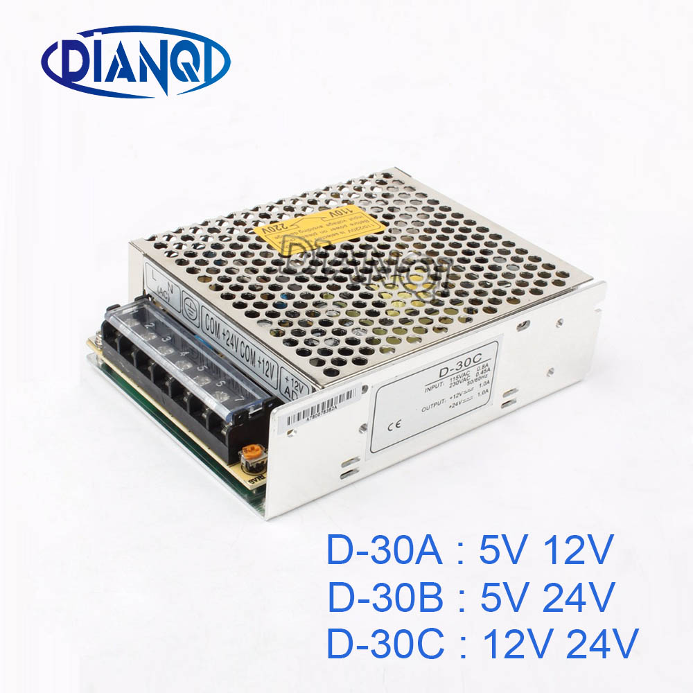 цена на DIANQI dual output Switching power supply 30w 5v 12v 24V power suply D-30A ac dc converter D-30B D-30C