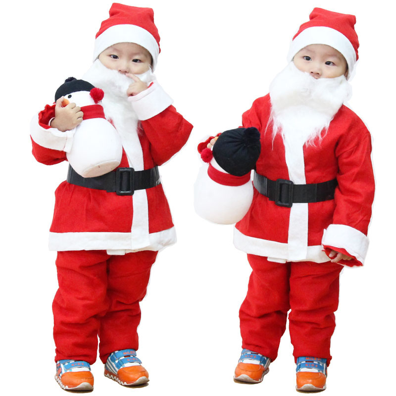 New Children Christmas Clothing 5pcs/Set Baby Boys Girls Santa Suit Dress Santa Claus Costumes Newborn Infant Clothes with Beard サンタ 服 赤ちゃん
