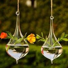 Горячий прозрачный в форме капли воды стеклянная подвесная Ваза Бутылка Террариум контейнер растение цветок сделай сам стол Свадебный садовый декор Прямая поставка