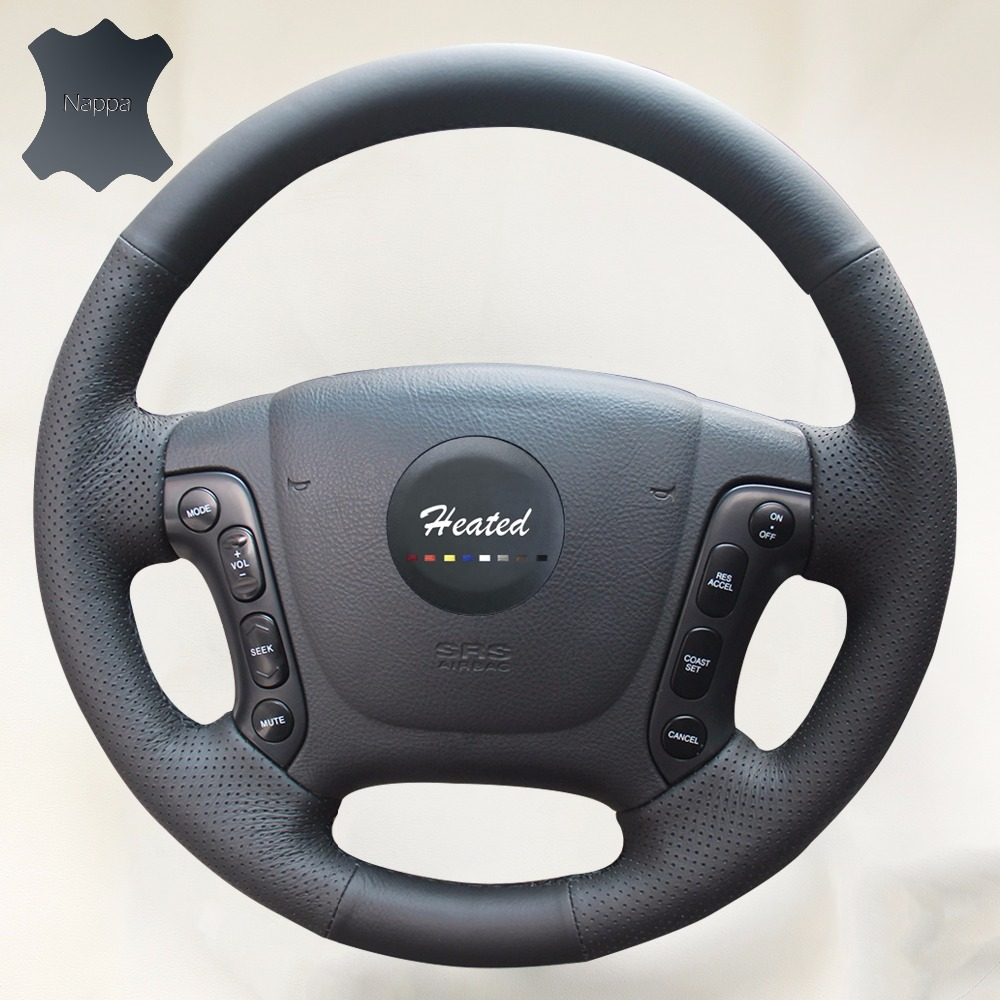 Anti-slip Respirant En Cuir Véritable Point De Couverture De Volant de Voiture Pour Hyundai Santa Fe 2006-2012 tressé directeur roue