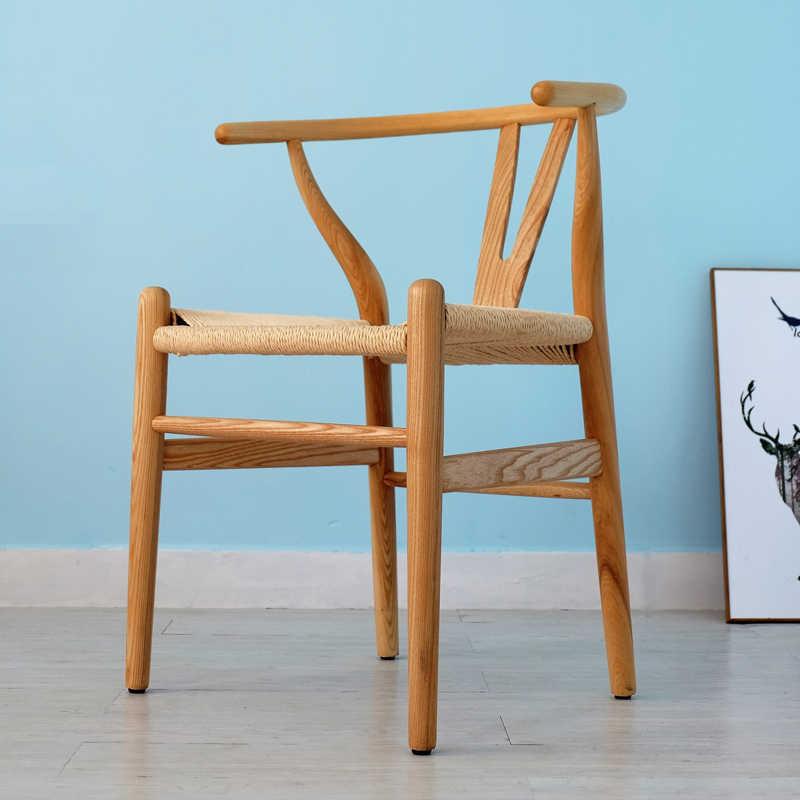 Y Chinês cadeira de jantar em madeira maciça cadeira do lazer poltrona estudo log Nordic cadeira do café em casa cadeira do computador cadeira de encosto