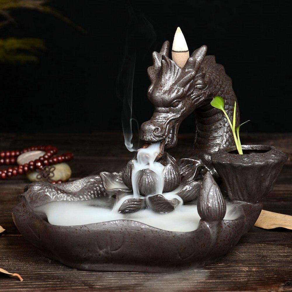 Backflow Incense Burner Ceramic Dragon Incense Holder Backflow Censer Smoke Flow Creative Home Decor 10PCS Incense
