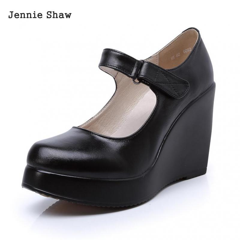 High heeled Women Genuine Leather Platform Mary Janes Shoes Sys 1616