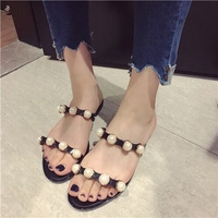 Women Summer Beach Slippers Women PVC Slippers Pearl Flat Flip Flops Sexy Platform Sandals Women S