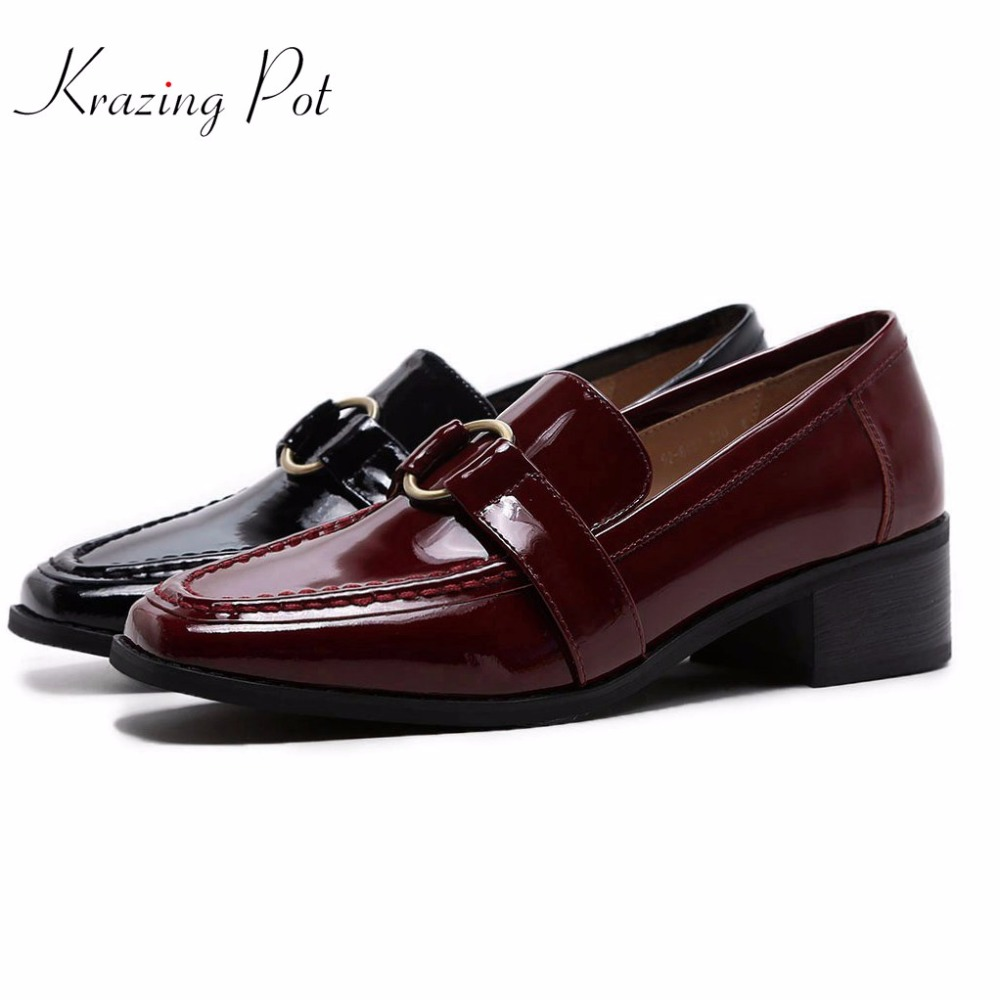 Krazing pot new shoes women shallow med heels genuine leather round metal buckle slip on women pumps square toe preppy shoes L18 2017 krazing pot new women pumps slip on cow leather med heels solid pointed toe princess style european designer nude shoes l29
