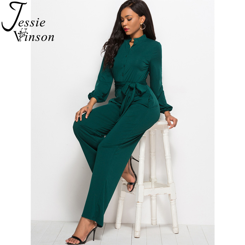 Jessie Vinson Turtleneck Long Sleeve Wide Leg Jumpsuit Buttons Black Rompers Womens Jumpsuits Plus Size Long Pants Overalls      1