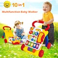 10 in 1 And Sit to Stand Baby Learning Walker Steps Walker and Walk Behind  Multifuction Discovering Music Baby Walker