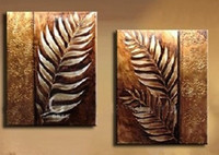Handmade Golden Modern Abstract Oil Paintings On Canvas Wall Art Leaf Pictures For Living Room Home