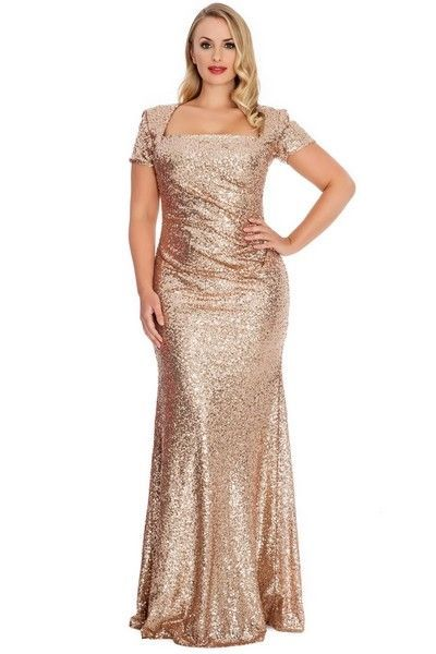 879a4db0d99 Bling Sequins Golden Women Evening Dresses Square Neck Short Sleeves Sheath  Long Champagne Plus Size Special Occasion Dresses-in Evening Dresses from  ...