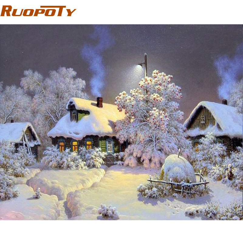 RUOPOTY Rahmen Schnee Landschaft DIY Malen Nach Zahlen Kit Acryl Auf ...