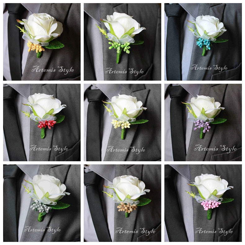 Ivory rose boutonniere wedding decoration buttonhole artificial ivory rose boutonniere wedding decoration buttonhole artificial flowers decor party banquet lapel flower groom bestman corsages in artificial dried mightylinksfo