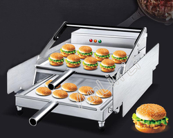 12pcs x 2 Layers Hamburger Baking Machine Commercial Fast Heating Burger Maker Joint Equipment with Non-Stick Pan GD-212