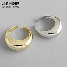 JShine Trendy 925 Sterling Silver Ring Geometric Arc-Shaped Open Round Adjustable Female Gold Ladies Rings for Party