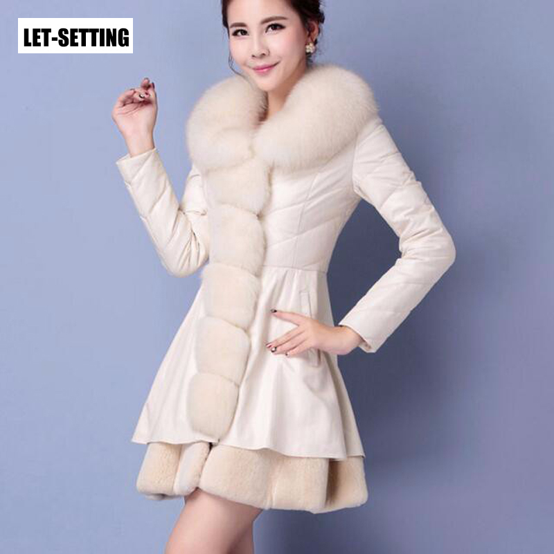 LET SETTING Women leather long section new winter fur leather Slim faux fur jacket