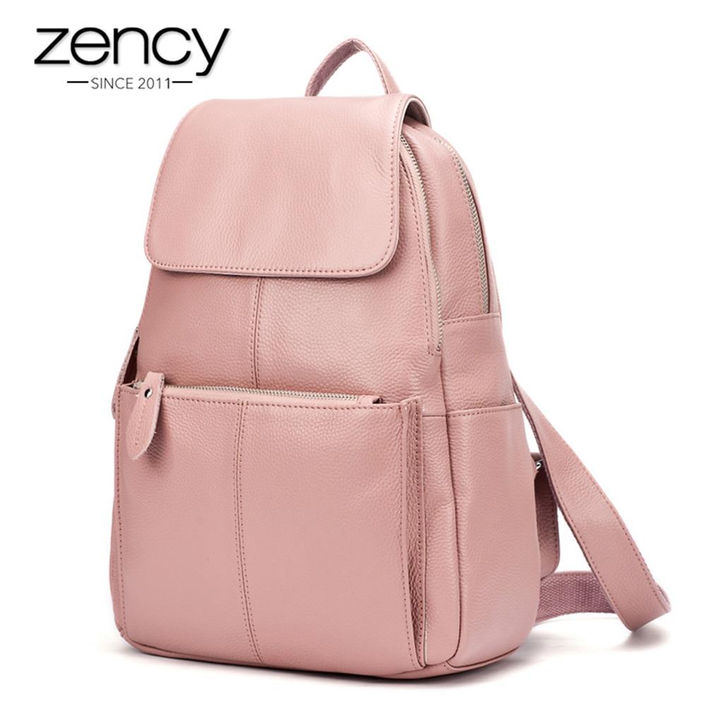 Zency 14 kolory 100% prawdziwej skóry kobiety plecak moda damska torba podróżna w stylu Preppy tornistry dla dziewcząt plecak na laptopa w Plecaki od Bagaże i torby na  Grupa 1