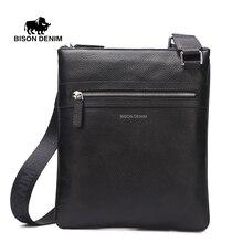 Bison denim de los hombres bolsa de hombro bolsa de mensajero de la taleguilla del cuero genuino ipad tablet negro suave delgada ocasional masculina bolsa n2424-1b
