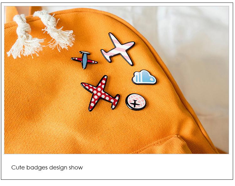 Menghuo 5 Pcsset Women Backpacks Cute Plane Badge School Bags For Teenage Girls Simple Canvas Backpacks Ladies Shoulder Bags (33)