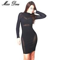 2016 Autumn Vestidos Newest Women Elegant Black Net Mesh Dress Long Sleeve Sexy Night Club Wear