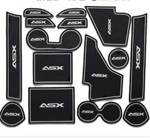 Non-slip mat 15pcs/set For Mitsubishi ASX 2013 2014 2015 PVC rubber door cup mat blue red white luminous logo Car accessories