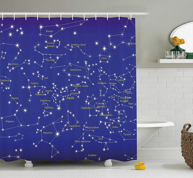 Constellation Shower Curtain Astronomy Science Names Of Stars Zodiac Signs Night Sky