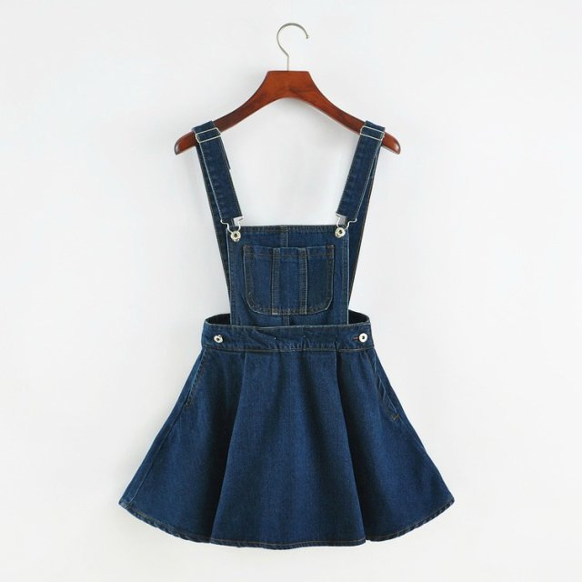 2017 Vintage Sweet Preppy Style Womens takedown braces mini Denim Skirt Ladies Girls A-line Suspender Skirt S M L Cosplay
