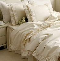 European beige lace bed set,4pc princess fairyfair zakka style full king queen home textile cotton bedspreads pillow duvet cover