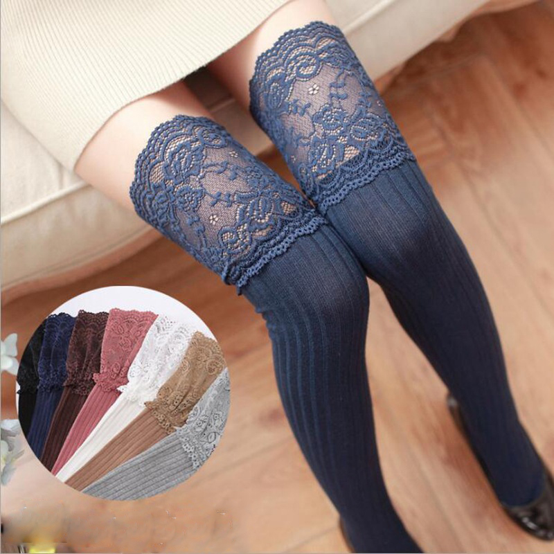 1pair Fashion Sexy Lace Stockings Warm Thigh High Stockings Over Knee Socks Long Stockings For Girls Ladies Women 7 Solid Colors