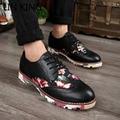 LIN REY Nuevo Cuero de La Pu Hombres Brogue Zapatos Fshion Talón Square Floral Lace Up Pisos Retro Carve Botines Zapatos Casuales