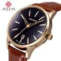 Clássico dos homens de negócios relógios moda casual relógios de quartzo de Japão relógio de pulso de Couro relógio de pulso Luxury top marca Julius 372 relógio de presente