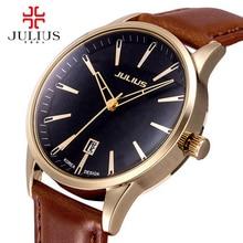 Hommes d'affaires classique montres mode casual Japon quartz montre-bracelet En Cuir montre-bracelet De Luxe top marque Julius 372 cadeau horloge