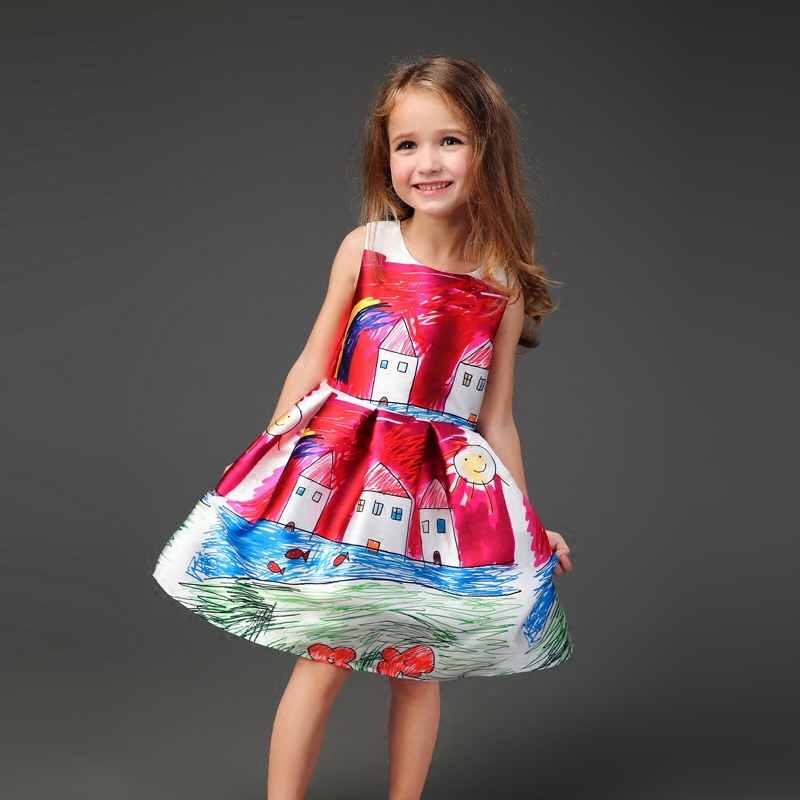 Brand Spring red graffiti prints sleeveless skirt women girls sundress mother and daughter skirts family look kids party dress