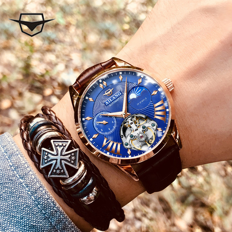 AILANG Men's watch corta vento masculino religio tenis cravejado watch carnaval breteles ciclismo relogios automatico dourado relógio de pulso relogio masculino luxo impermeavel esqueleto Relógio mecânico para homem
