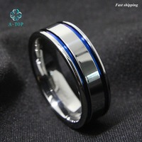 8Mm Tungsten Carbide Ring Men S Double Blue Stripe Wedding Band Ring Comfort Fit Free Shipping