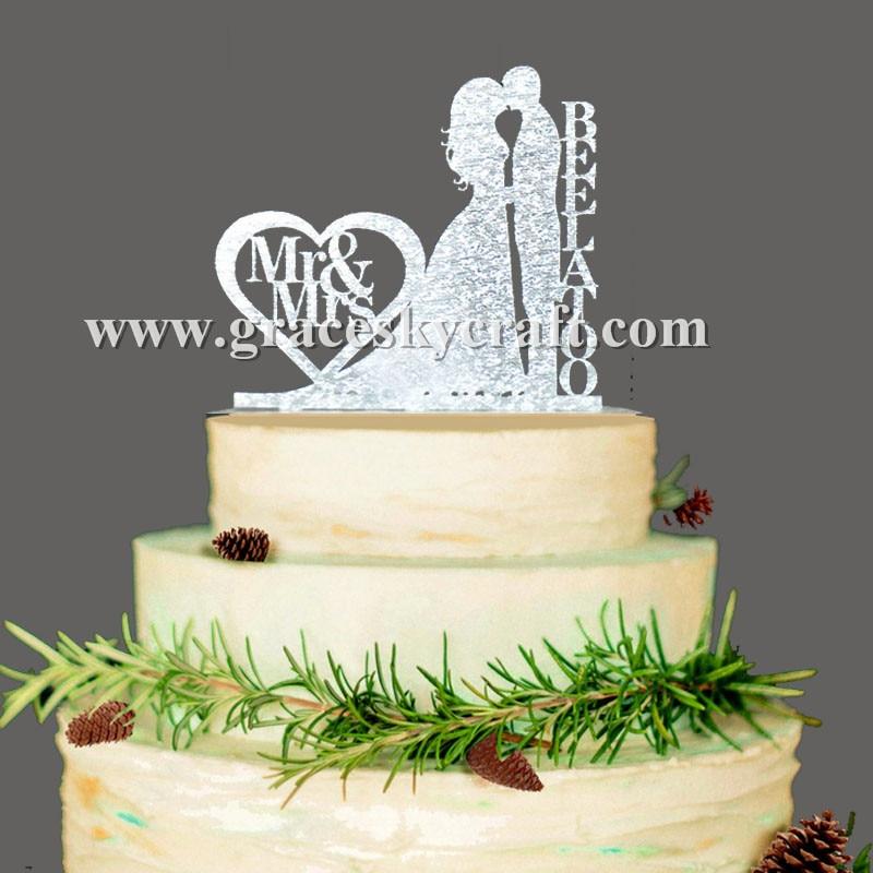 Doprava zdarma Svatební dort Topper Akryl stříbro zlaté třpytky, Vlastní svatební nevěsta a ženich dort Toppers personifikované příjmení